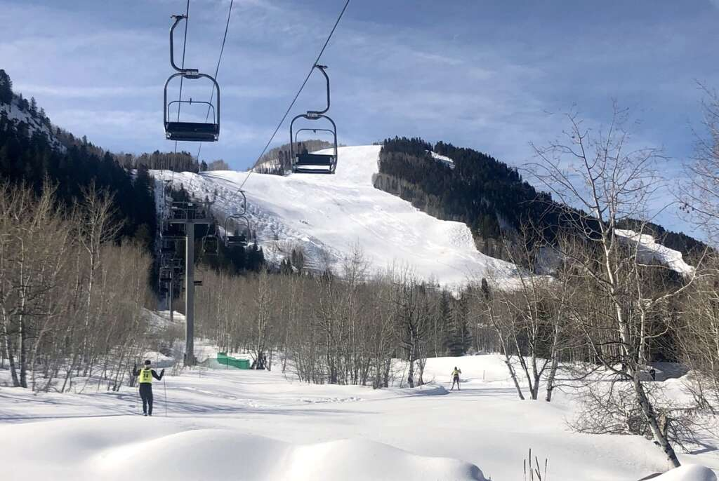 Cross-country skiers climb the Raoul's Revenge trail during the the Owl Creek Chase in Aspen on March 7, 2021. | Kaya Williams/The Aspen Times