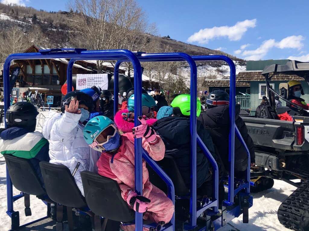 Glenwood Springs Elementary School third grade students are heading to the Panda Hill Learning Area in Buttermilk on March 12, 2021 for a school ski day program. Kaya Williams / The Aspen Times