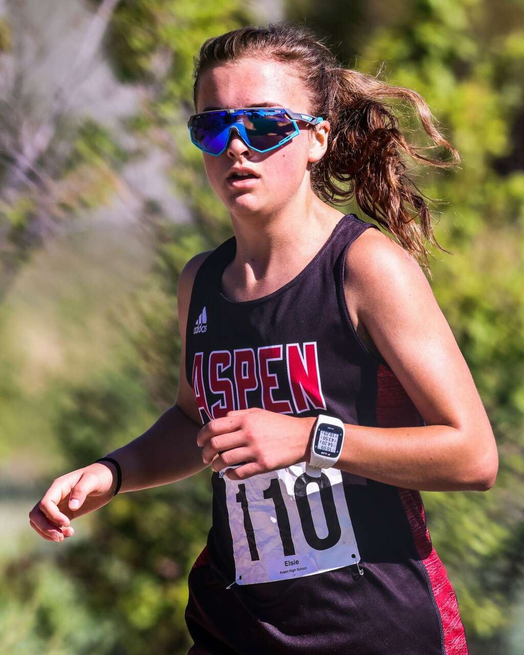 Aspen's Elsie Weiss competes in the Longhorn Invitational cross country meet on Saturday, Aug. 28, 2021, at Crown Mountain Park in El Jebel. Photo by Austin Colbert/The Aspen Times.