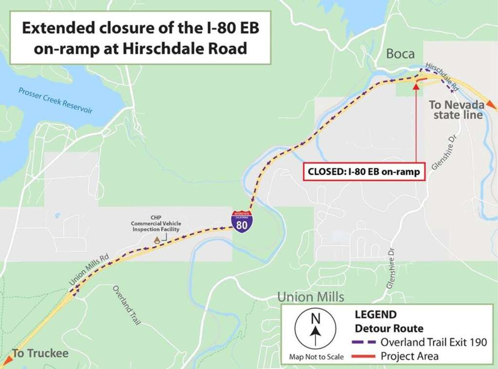 Detour map for the closure of the I-80 eastbound on-ramp at Hirschdale Road | Map provided by Caltrans