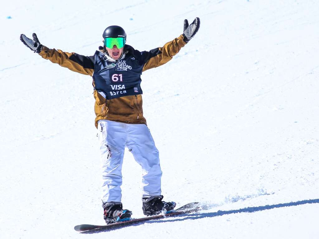 Spain's Jose Antonio Aragon celebrates his run during the men's snowboard slopestyle qualifier of the U.S. Grand Prix and World Cup on Friday, March 19, 2021, at Buttermilk Ski Area in Aspen. Photo by Austin Colbert/The Aspen Times.