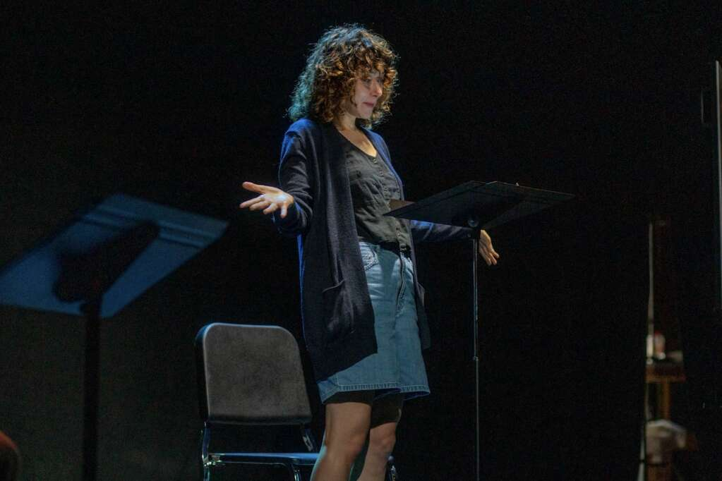 Kate Abbruzzese works on a reading of