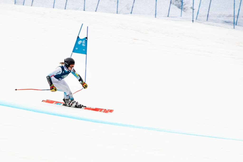 American alpine skier Mia Hunt competes in the Women's Super G National Championships at Aspen Highlands on Tuesday, April 13, 2021. (Kelsey Brunner/The Aspen Times)