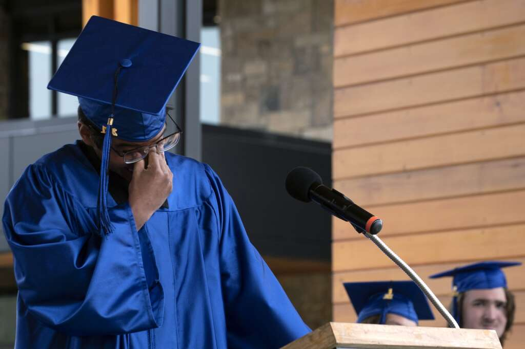Matthew Martinez reacts while speaking during the Snowy Peaks High School graduation Wednesday, May 26, at the Silverthorne Performing Arts Center in Silverthorne.   Photo by Jason Connolly / Jason Connolly Photography