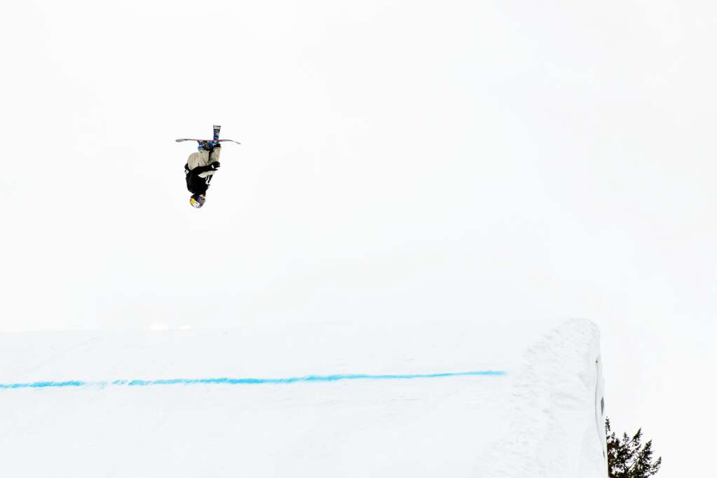 Swiss freestyle skier Mathilde Gremaud competes during the womens big air competition at the 2021 X Games Aspen at Buttermilk on Friday, Jan. 29, 2021. Gremaud landed the first switch double cork 1440 in history during a womens big air competition.(Kelsey Brunner/The Aspen Times)