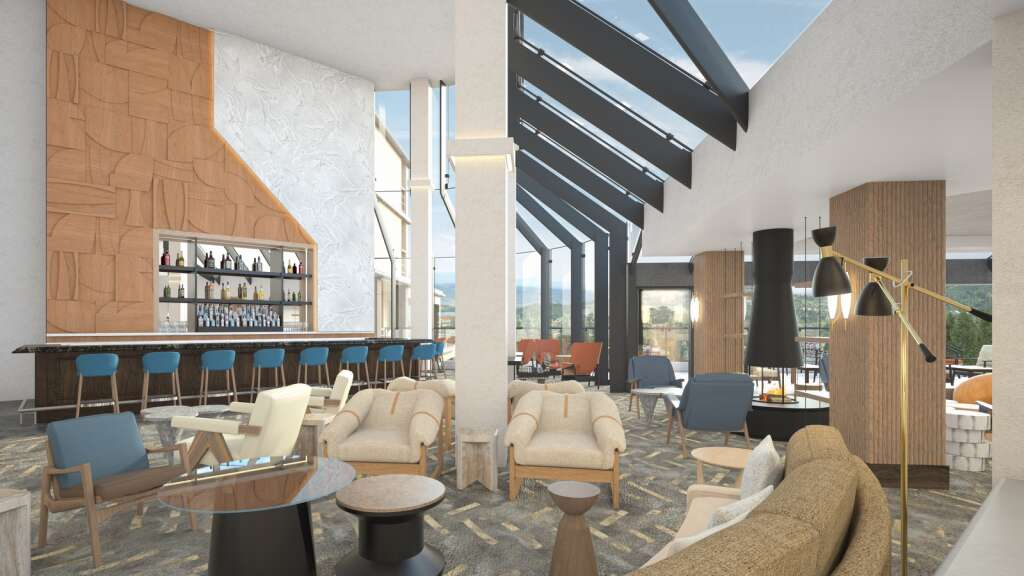 A render shows the refurbished interior of the lobby bar at Viewline Resort Snowmass, which is slated to open in December.  |  Courtesy Image