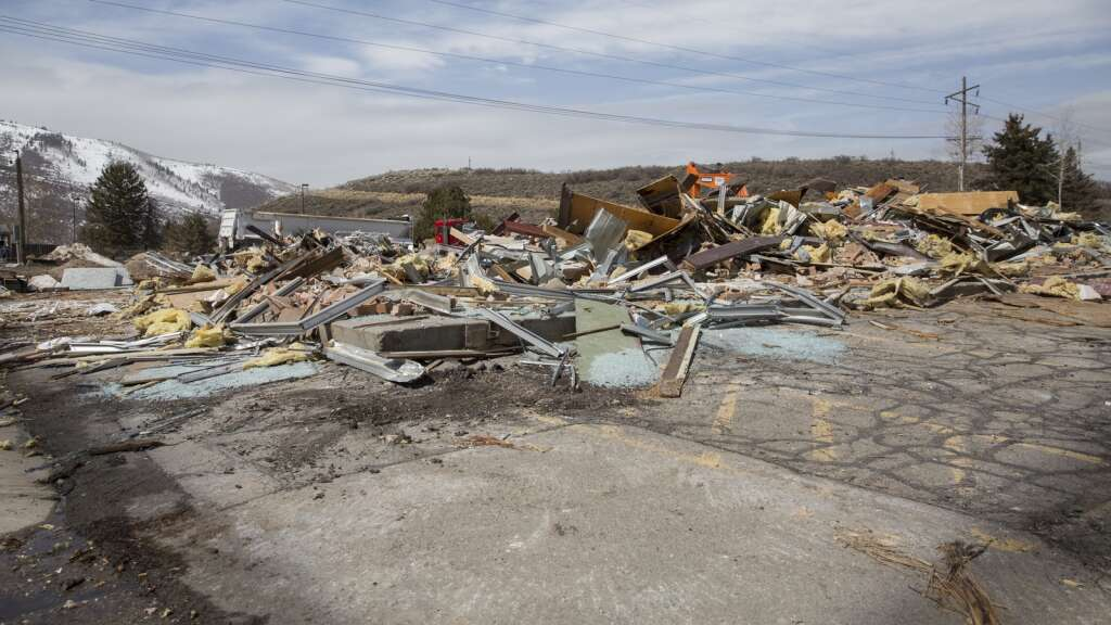 Rubble from building demolitions the week prior awaits being transported off-site to be recycled and disposed of during the first stages of the new Arts & Culture District development plan Monday afternoon, March 29, 2021. (Tanzi Propst/Park Record)
