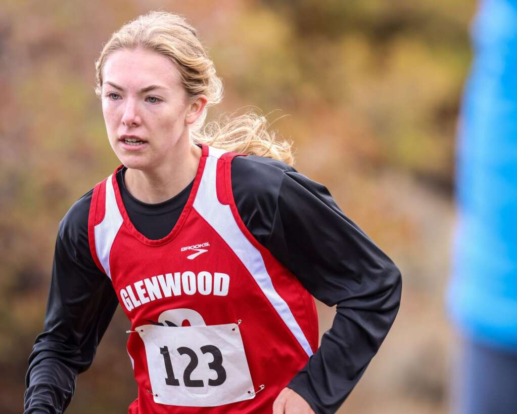 Glenwood Springs senior Ella Johnson competes in the Chris Severy Invitational on Saturday, Oct. 9, 2021, in Aspen. She won the varsity girls race in 22:07.3. Photo by Austin Colbert/The Aspen Times.