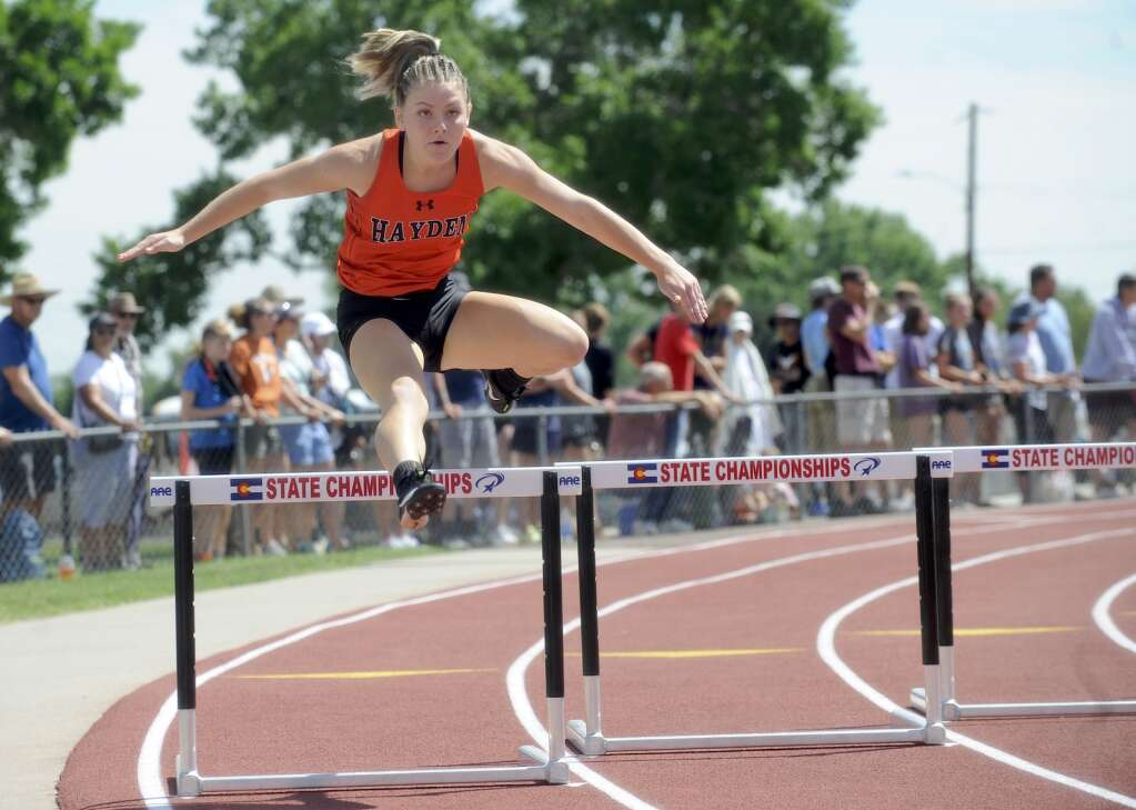 Hayden's Sadie Dunckley took 18th in the 300-meter hurdles at the CHSAA Track and Field State Championships at JeffCo Stadium on Friday. (Photo by Shelby Reardon)