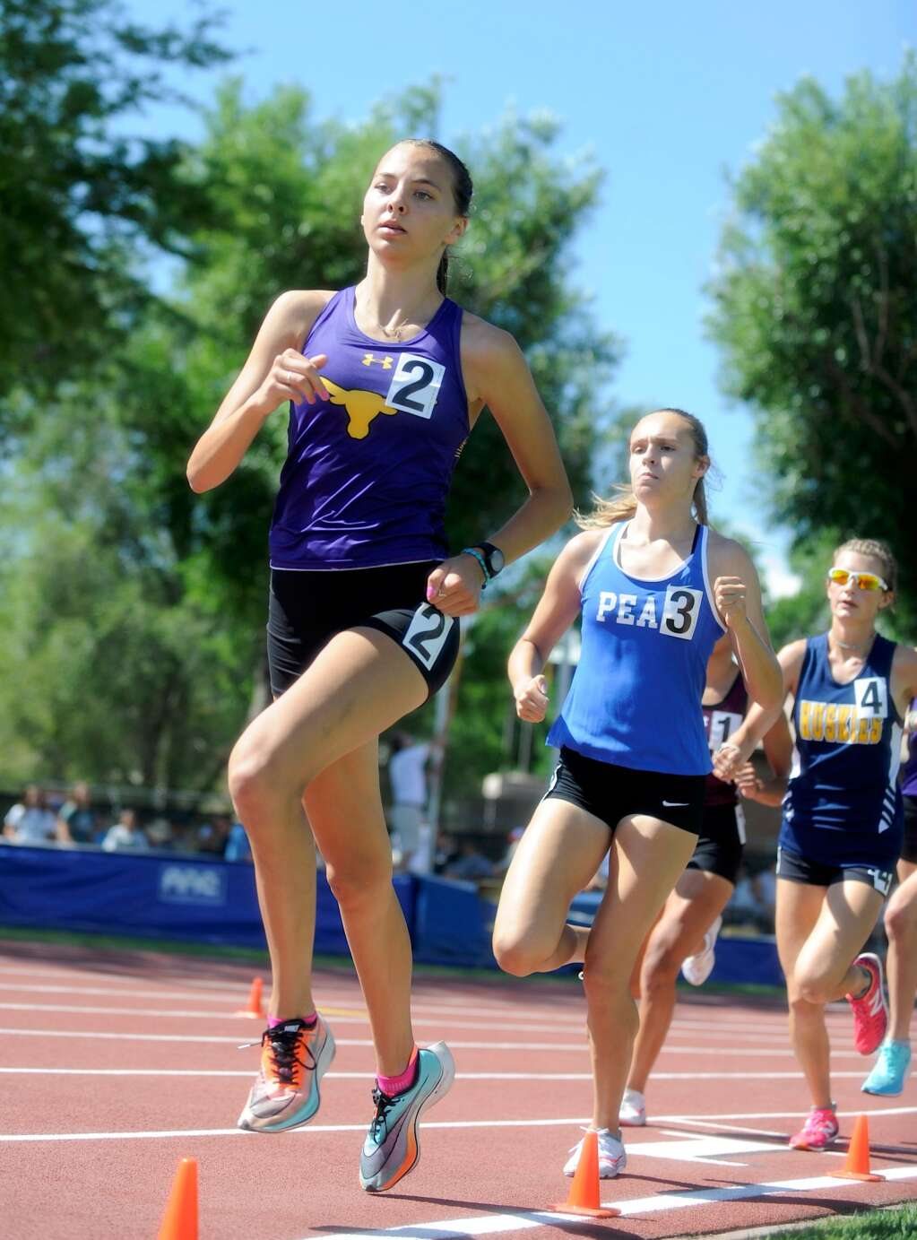 Basalt High School sophomore Katelyn Maley, left, competes in the Class 3A girls' 3,200-meter run on Friday, June 25, 2021, at the state championship meet in Lakewood. Maley finished second. Photo by Shelby Reardon/Steamboat Pilot & Today.