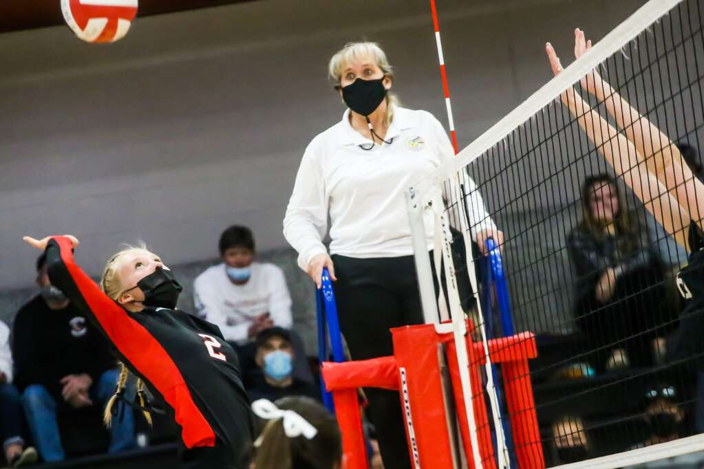 Aspen High School volleyball's Laurel Yule plays against Gunnison on Saturday, April 17, 2021, inside the AHS gymnasium. Gunnison won, 3-1. Photo by Austin Colbert/The Aspen Times.