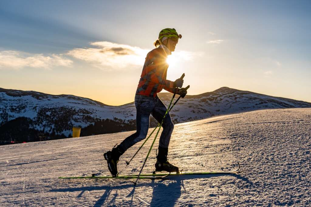 A racer ascends uphill as part of Copper Mountain Resort's first Uphill Race Series this winter. | Photo by Curtis DeVore / Copper Mountain Resort