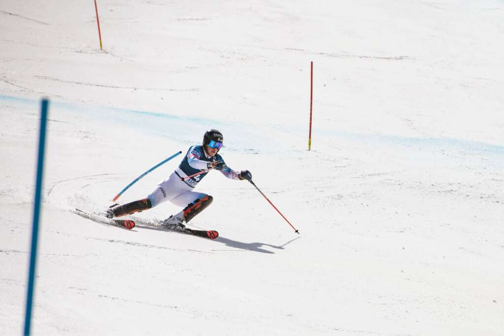 American alpine skier River Radamus competes in the U.S. Alpine Championships at Aspen Highlands on Wednesday, April 7, 2021. Radamus placed third in the Super G Championships. (Kelsey Brunner/The Aspen Times)