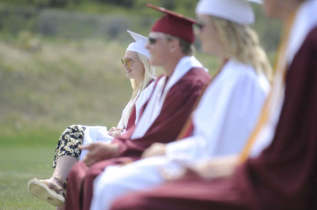 The class of 2021 smiles during the Soroco High School graduation ceremony on Saturday morning.