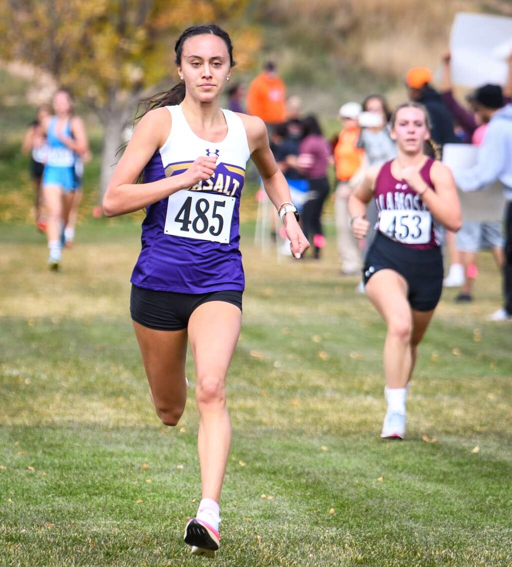 Basalt High School's  Ava Lane finishes in fourth place at Friday's Colorado 3A Region 1 XC meet at VIX Park in New Castle.  Chelsea Self/Post Independent