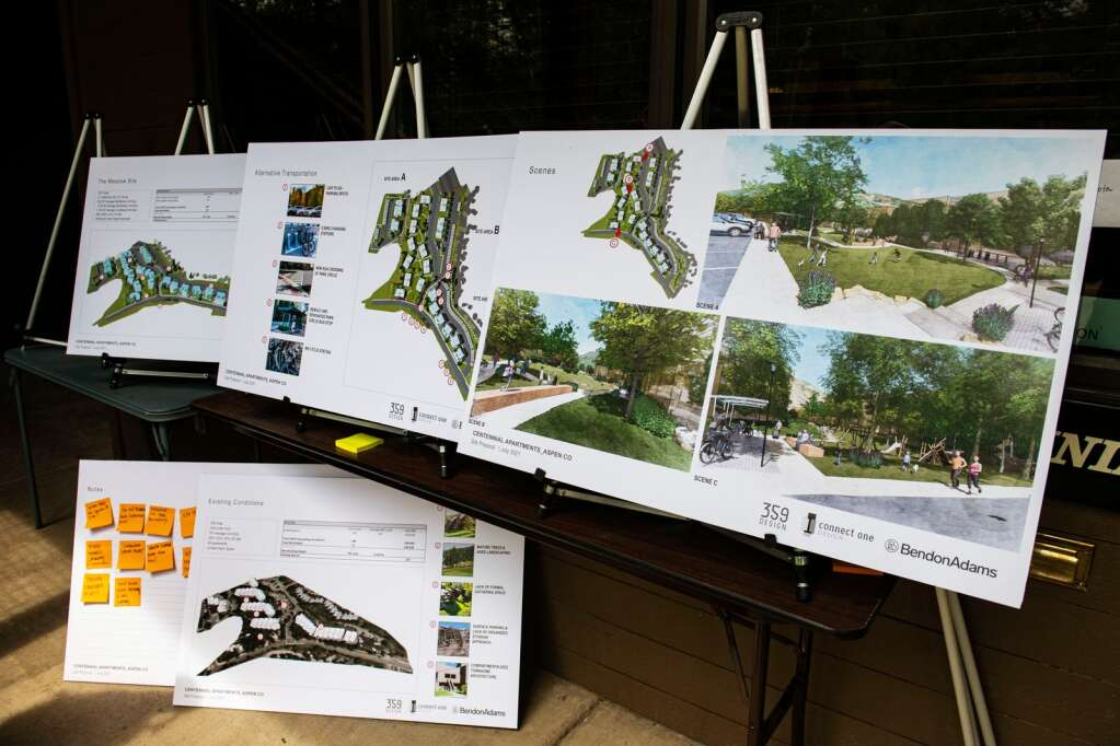 Redevelopment sketch plans were shown to residents of Centennial Apartments on Tuesday, July 13, 2021. (Kelsey Brunner/The Aspen Times)