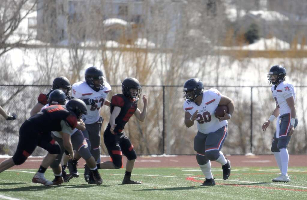 Montezuma-Cortez sophomore Dorrian Hilliard runs the ball during a game against Steamboat Springs at Gardner Field on Saturday afternoon. (Photo by Shelby Reardon)