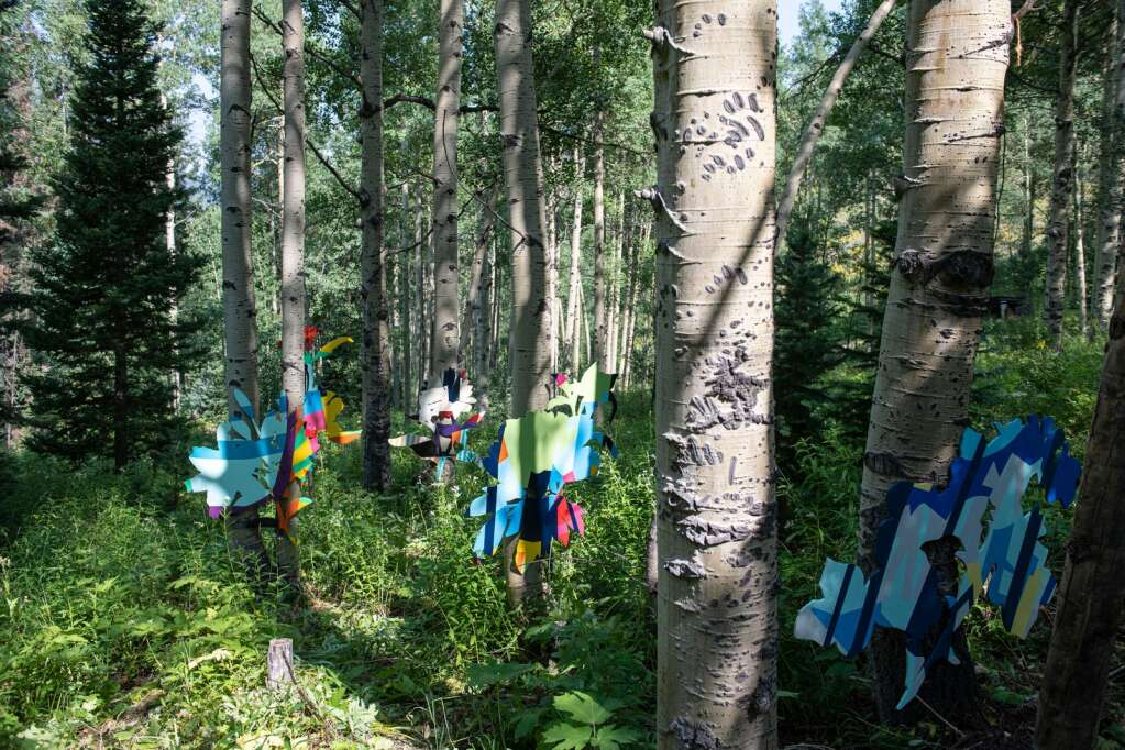 """Ajax Axe and a group of artists have created an """"Aspen Space Station"""" on the backside of Aspen Mountain that is open to the public to educate the community on their philosophy that the Earth is worth saving. (Kelsey Brunner/The Aspen Times)"""