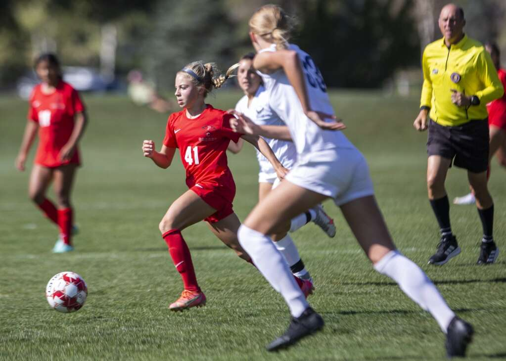 Park City High School's Caroline Retzer (41) moves the ball downfield for the Miners during their matchup against Skyline High School at the North 40 playing fields Tuesday afternoon, Sept. 14, 2021. The Miners fell to the Eagles 7-0. (Tanzi Propst/Park Record)