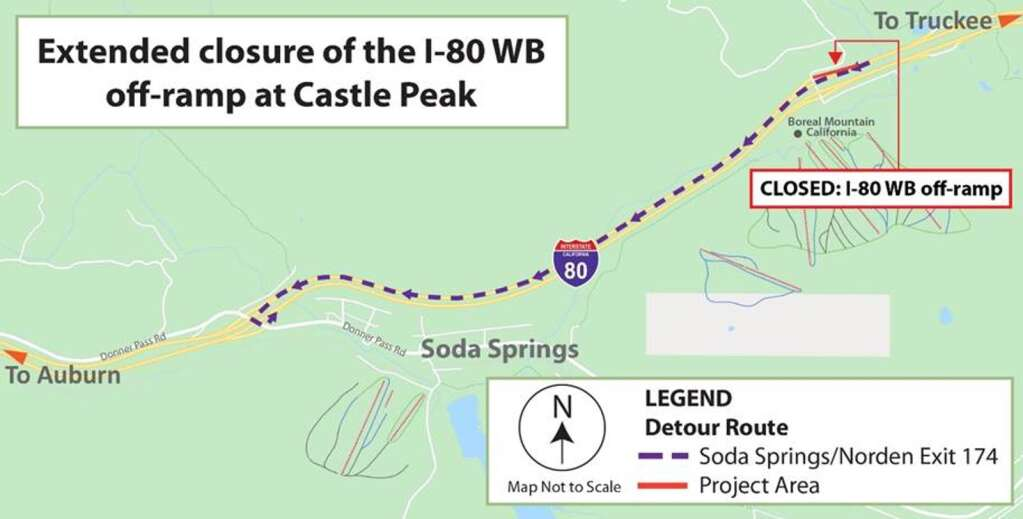 Detour map for the closure of the I-80 westbound off-ramp at Castle Peak/Boreal Ridge. | Map provided by Caltrans