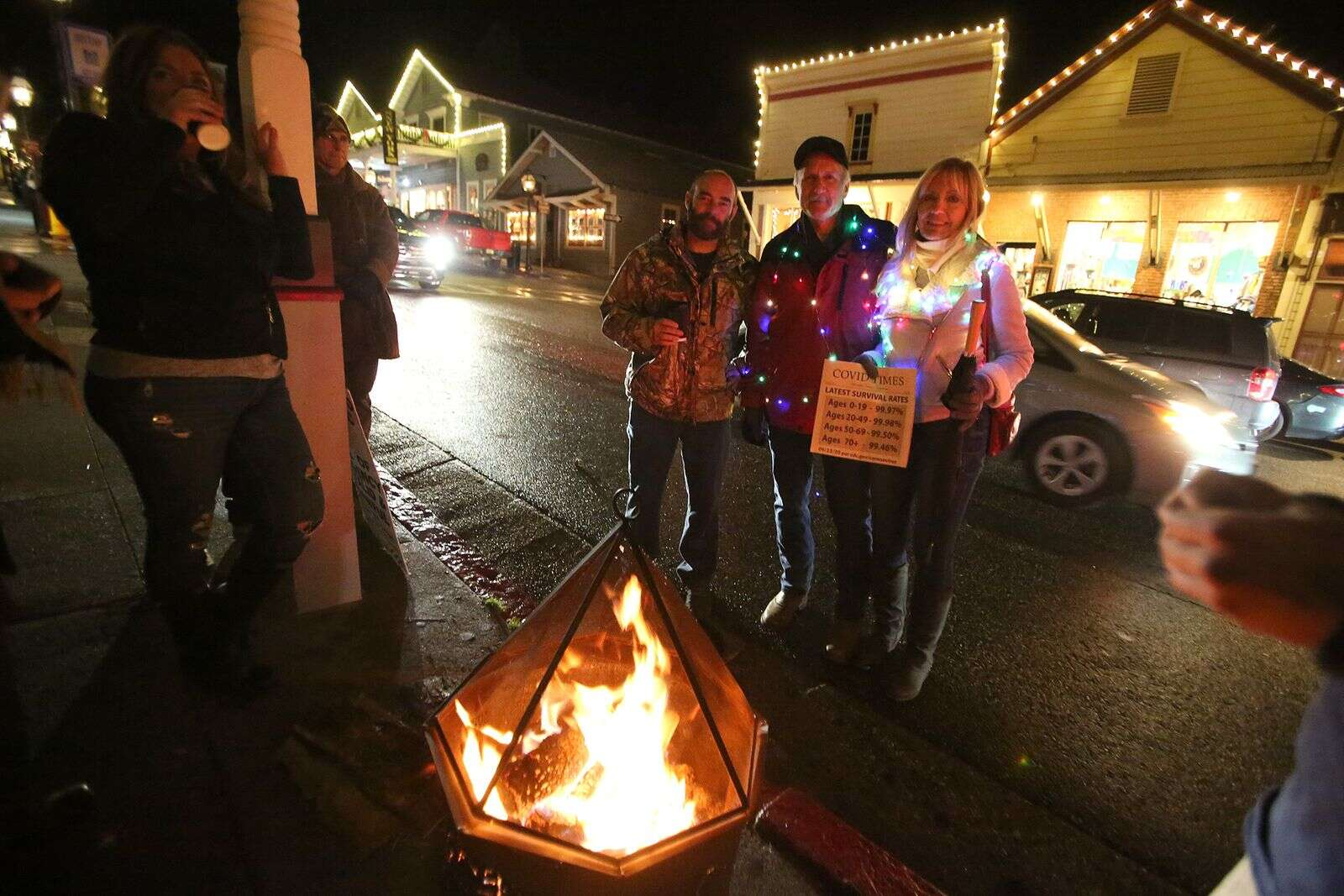 A warming fire placed on the sidewalk was later moved to the street after a contact from a Nevada County Fire official.