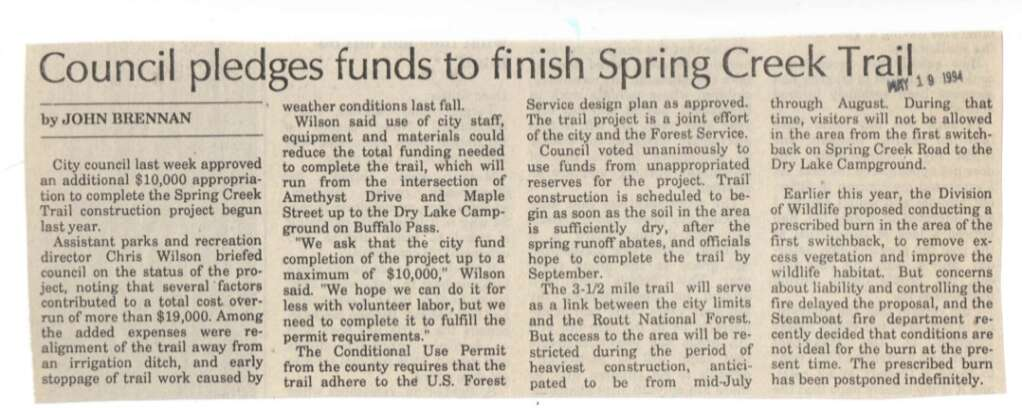 A newspaper clipping from 1994 reports the approval of funds to build the Spring Creek Trail. (Photo credit: Tread of Pioneers Museum, Steamboat Pilot Collection)