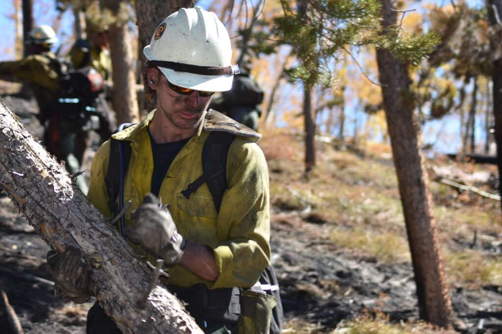Firefighters clear heavy fuels from within the Ptarmigan Fire containment lines Monday, Oct. 4. | Sawyer D'Argonne/Summit Daily News