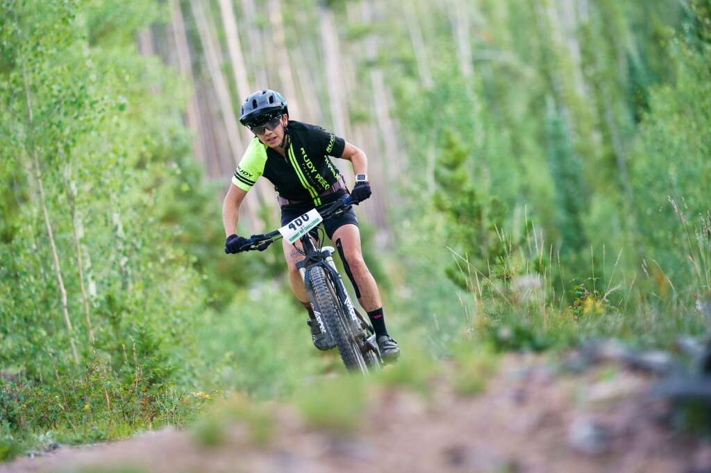 Jodi Baerg races her way toward Frisco on the Peaks Trail during the Peaks Trail Time Trial, the sixth round of the Summit Mountain Challenge mountain bike race series. | Photo by John Hanson