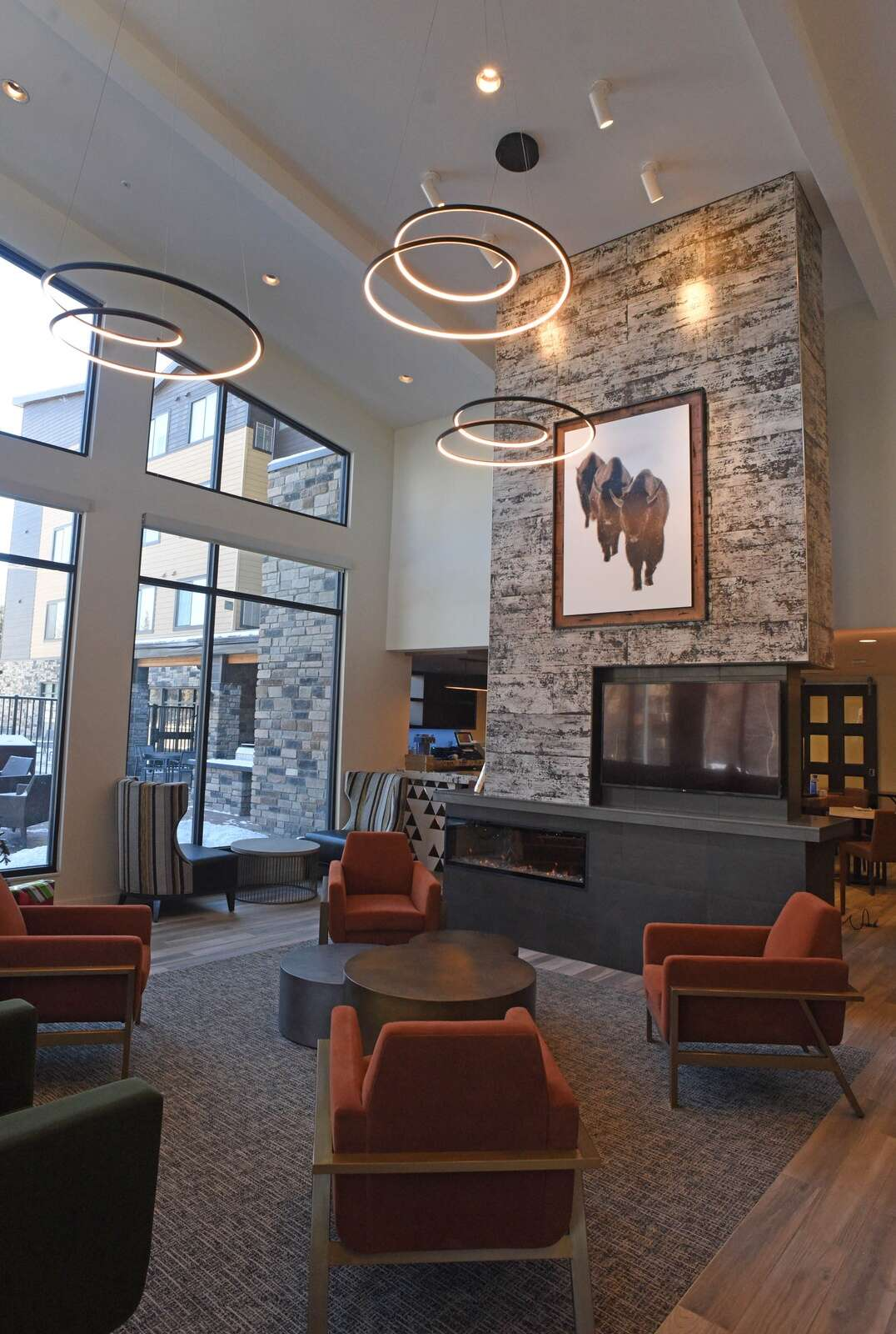 The entry of the new Residence Inn by Marriott offers guests a relaxing space to enjoy the bar and restaurant. (Photo by John F. Russell)