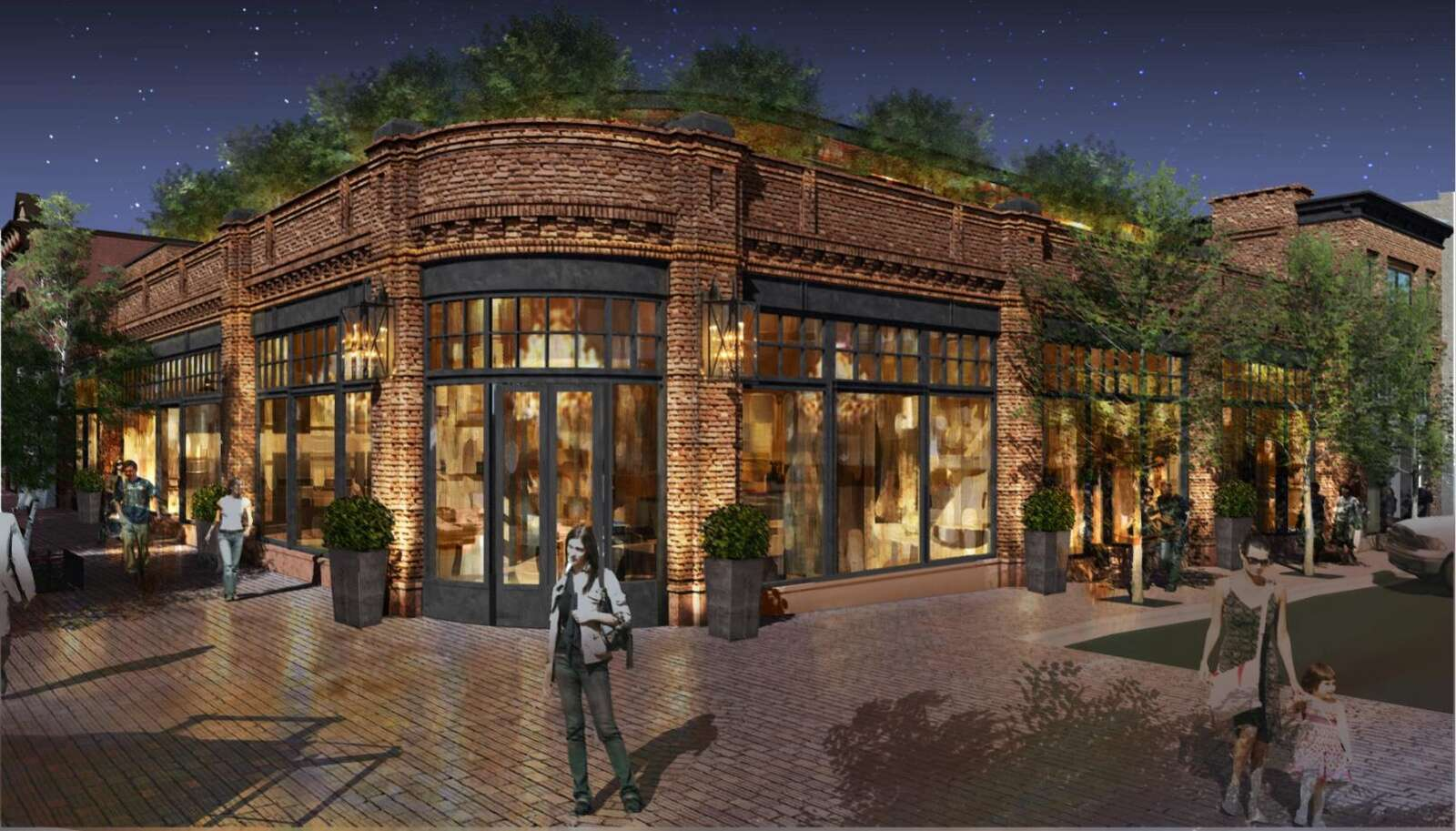 An architect's rendering of a new retail building at the corner of Galena Street and the Cooper Avenue Mall.