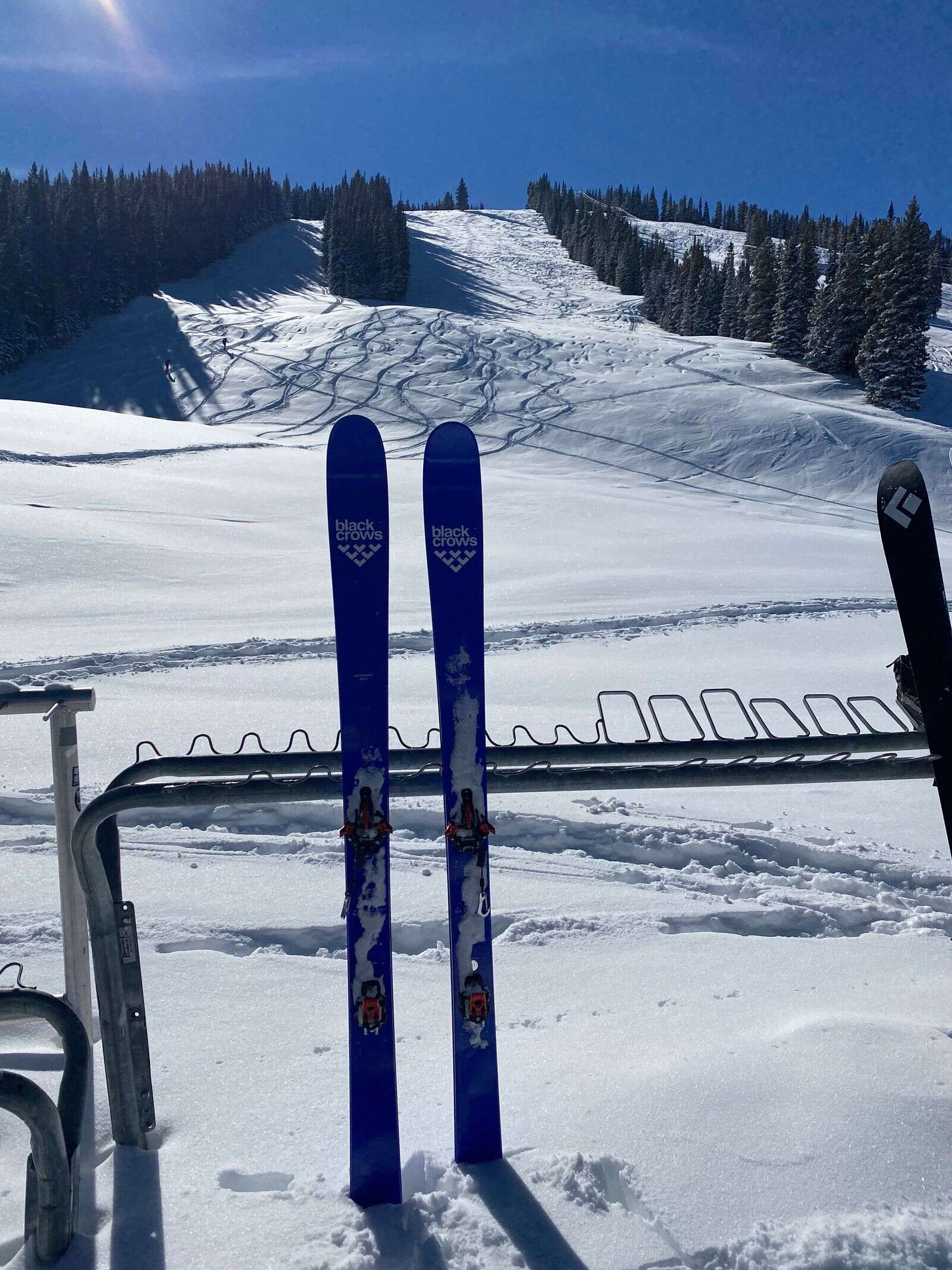 All dressed up and ready to go: Uphillers had the slopes of Aspen Highlands to themselves on Sunday. Their tracks are evident from the Merry-Go-Round restaurant. |Zach Nichols/courtesy photo