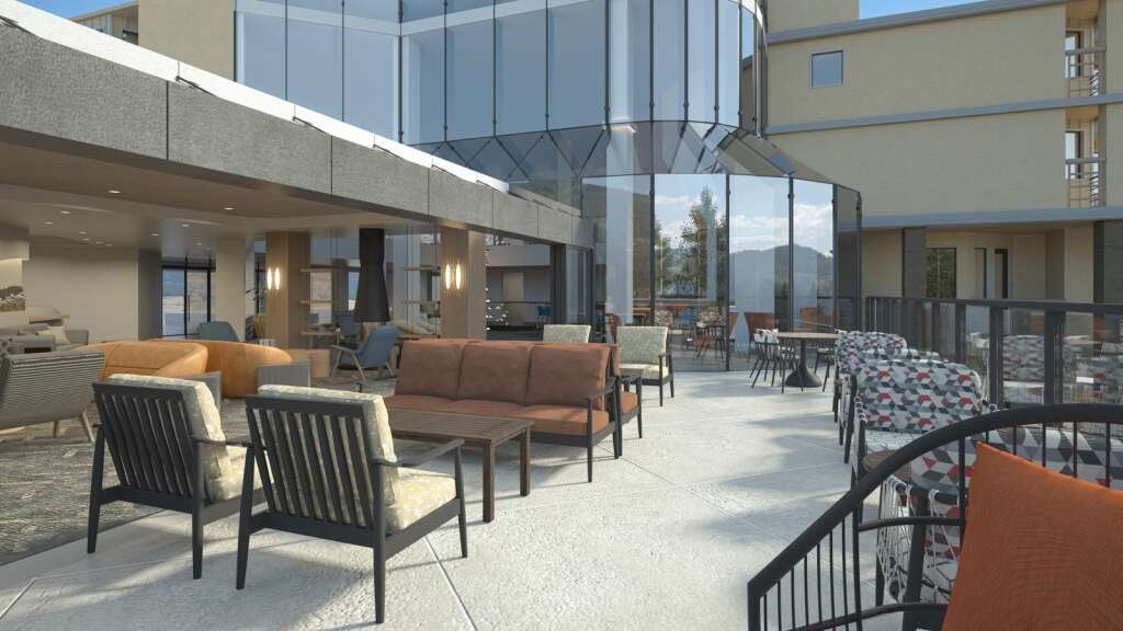 A render shows the deck of Viewline Resort Snowmass, scheduled to open in December.  |  Courtesy Image