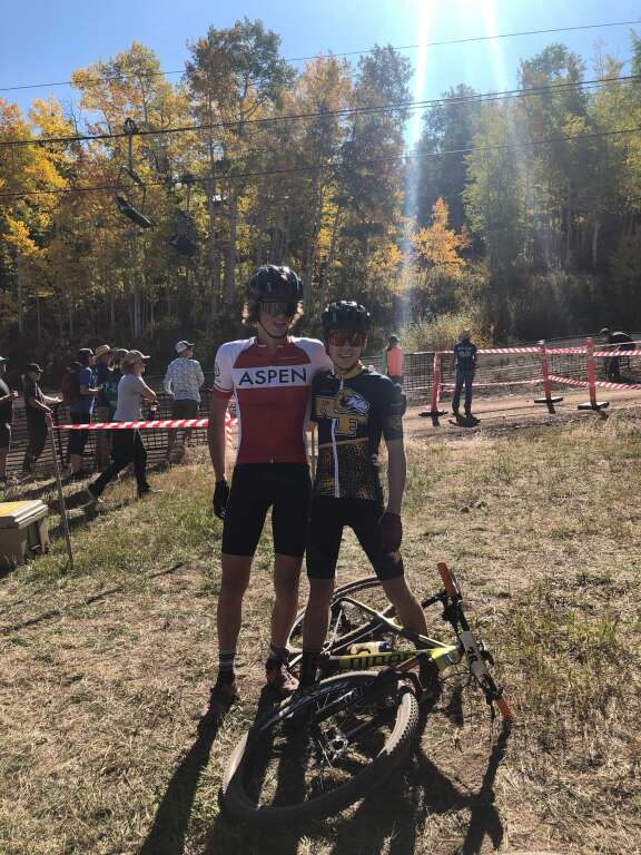 Aspen's Markus Dewire and Roaring Fork's Corbin Carpenter pose for a photo during a prior race this fall. Courtesy photo.