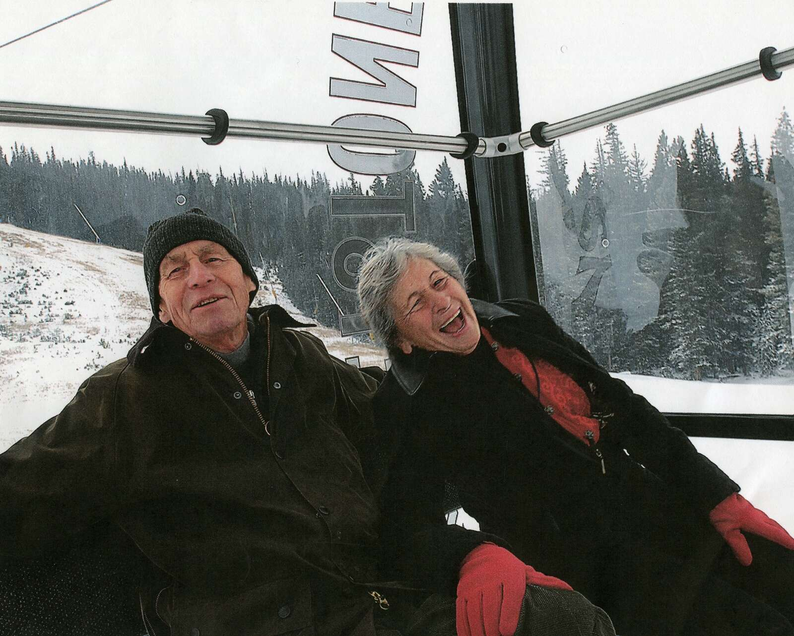 Bill and Jane Bergman share a laugh while riding the gondola at Keystone Resort | Photo from the Bergman family