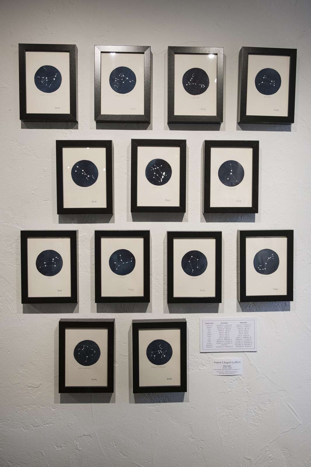 Zodiac Signs by Brian Colley are displayed in the Aspen Chapel Gallery for the Small Wonders holiday show and sale on Tuesday, Nov. 17, 2020. (Kelsey Brunner/The Aspen Times)