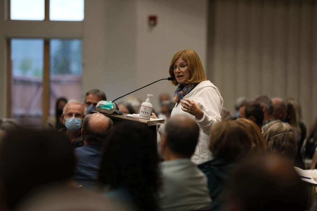 Susan Knopf speaks during a community hearing with the Colorado Independent Redistricting Commissions on Saturday, July 31, 2021 in Frisco. The hearing provided Coloradans a chance to voice their input for preliminary map drawings. | Photo by Ashley Low / Ashley Low Photography