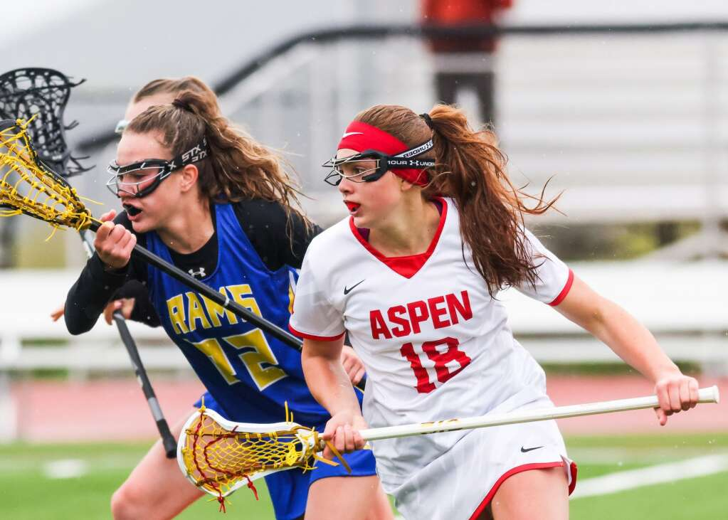 Aspen High School's Stella Sherlock, right, chases after a loose ball in the girls lacrosse game against Roaring Fork on Monday, May 17, 2021, on the AHS turf. Photo by Austin Colbert/The Aspen Times.