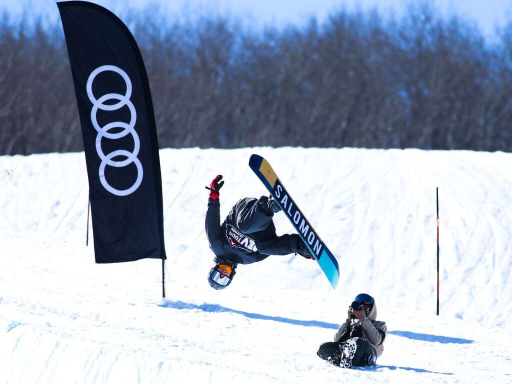 Brooklyn Depriest competes in the men's snowboard halfpipe contest at the U.S. Revolution Tour stop on Thursday, Feb. 25, 2021, at Buttermilk Ski Area. Photo by Austin Colbert/The Aspen Times.