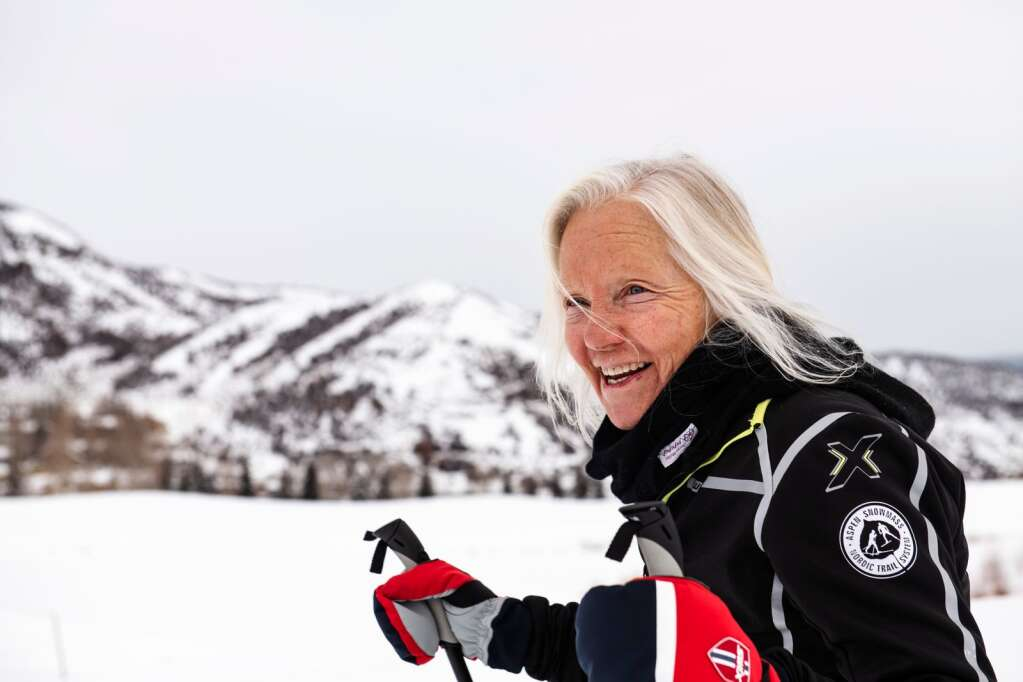 Snowmass Cross Country Center instructor Patty Lecht talks during a lesson in Snowmass on Friday, January 3, 2020. (Kelsey Brunner/The Aspen Times)