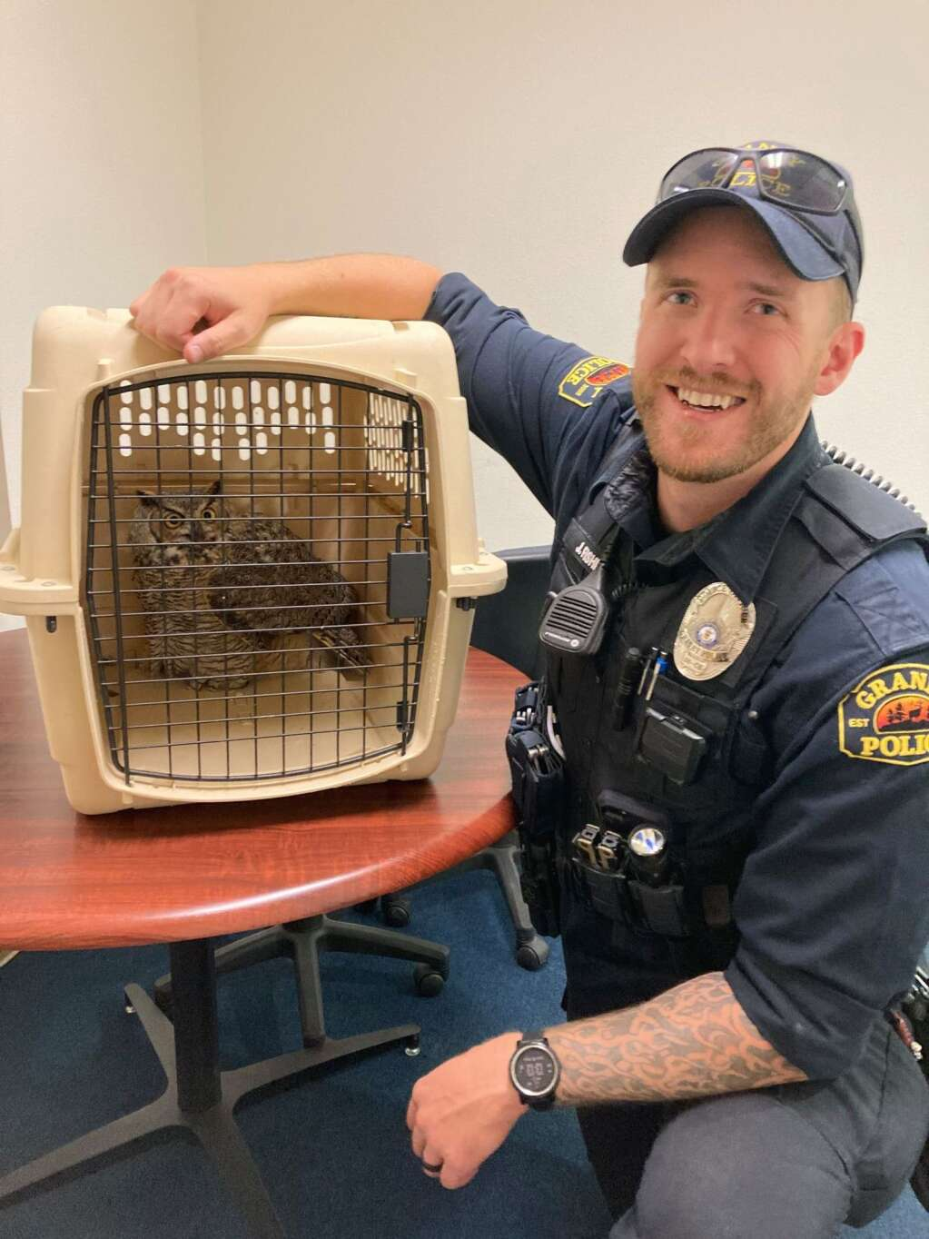 Granby Officer Jake Fisher rescued a great horned owl that had likely flown into a fence at the Bark Park and stunned itself.   Granby Police Department / Courtesy photo