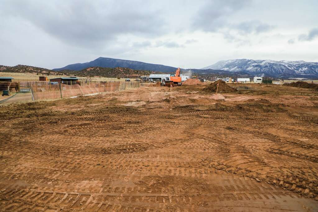 Site work is cleared for the new barn and indoor arena at Mountain Valley Horse Rescue March 23 in McCoy. Completition of the new facility is expected by fall.