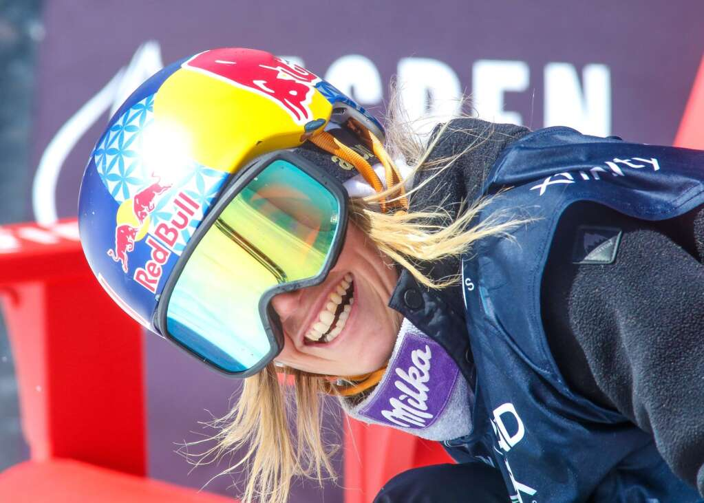 Austria's Anna Gasser smiles in the finish area of the women's snowboard slopestyle contest of the U.S. Grand Prix and World Cup on Saturday, March 20, 2021, at Buttermilk Ski Area in Aspen. Photo by Austin Colbert/The Aspen Times.