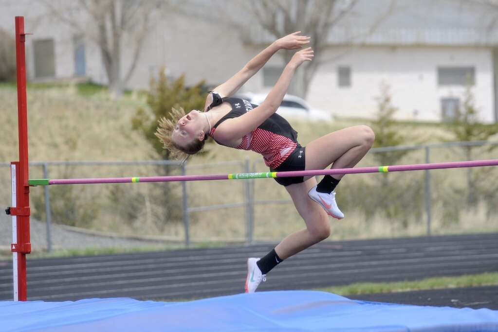 Steamboat Springs athlete Rachel Spitzley competes in high jump at the Clint Wells Invitational in Craig on Friday. (Photo by Shelby Reardon)