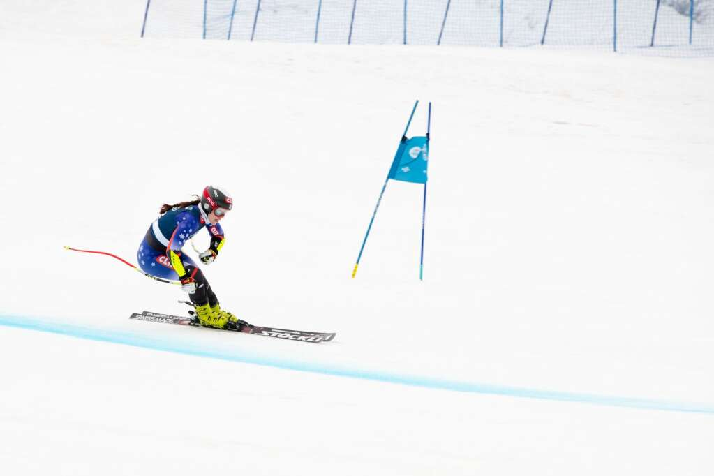American alpine skier Lila Lapanja competes in the Women's Super G National Championships at Aspen Highlands on Tuesday, April 13, 2021. (Kelsey Brunner/The Aspen Times)