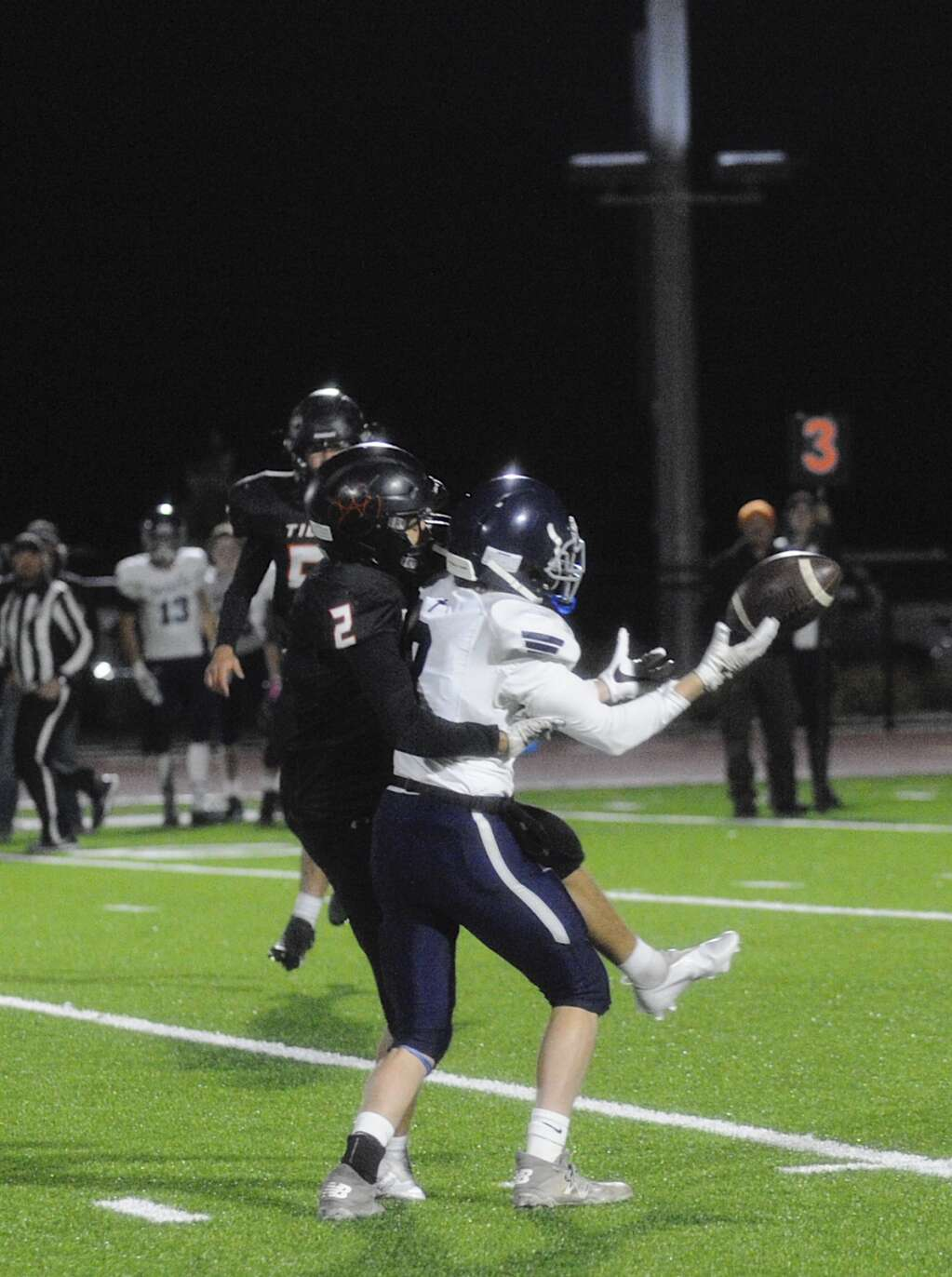Hayden junior football player Owen Miller disrupts a pass during a game against Vail Christian at home on Friday.   Shelby Reardon/Steamboat Pilot & Today