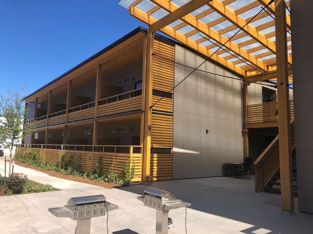 Gas grills and bike stations are among the amenities outside at the new Red Hill Lofts. | Scott Condon/The Aspen Times