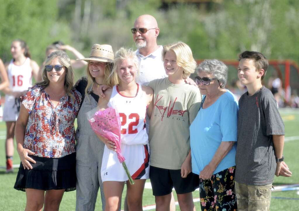 Steamboat Springs senior Erica Simmons was honored for senior night during halftime of a game against Eagle Valley at Gardner Field on Thursday night. (Shelby Reardon)