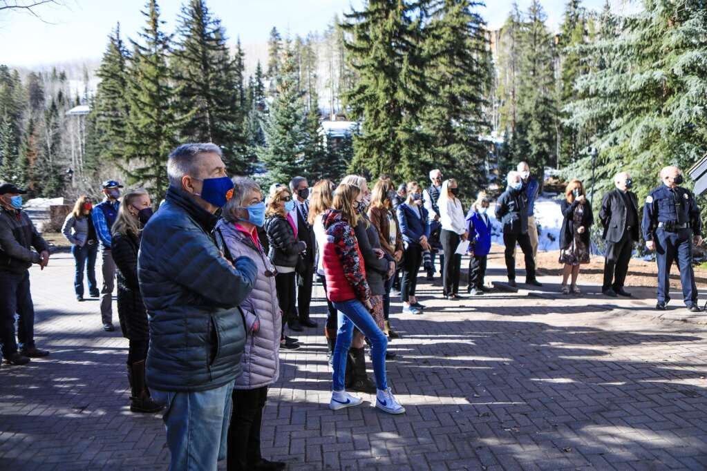 A crowd gathers Monday at the Vail Interfaith Chapel to listen to speeches from community leaders.