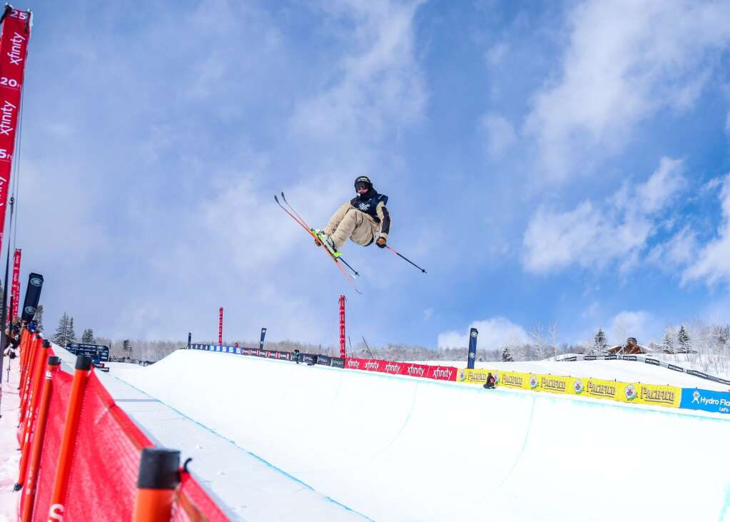 Aaron Blunck competes in the men's freeski halfpipe finals of the U.S. Grand Prix on Sunday, March 21, 2021, at Buttermilk Ski Area in Aspen. Photo by Austin Colbert/The Aspen Times.