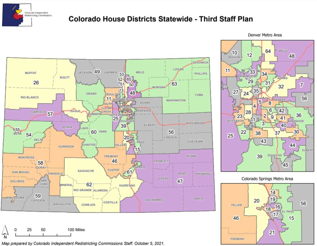 The third Staff Plan Map of State House Districts from the Colorado Independent Legislative Redistricting Commission puts Routt County in a district with Moffat, Rio Blanco counties and most of Eagle.   Colorado Independent Legislative Redistricting Commission/Courtesy